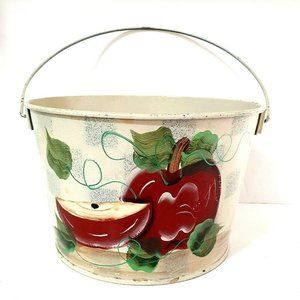 Other - Country Decor Cream Tin Bucket Hand Painted Apple